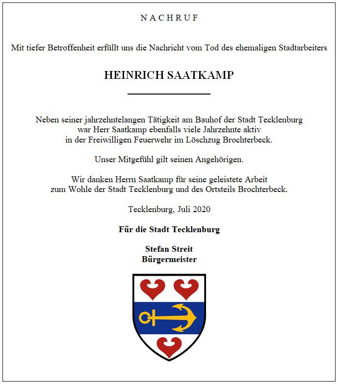 Nachruf Heinrich Saatkamp